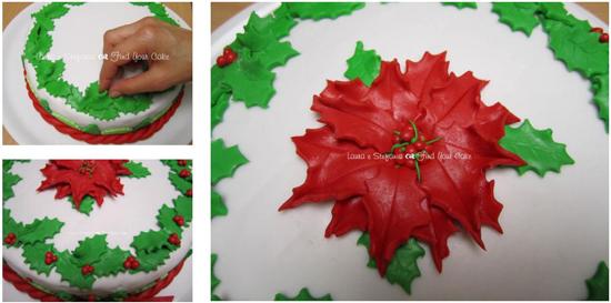 Stella Di Natale Pasta Di Zucchero Tutorial.Tutorial Torta Con La Stella Di Natale Cake Design Italia
